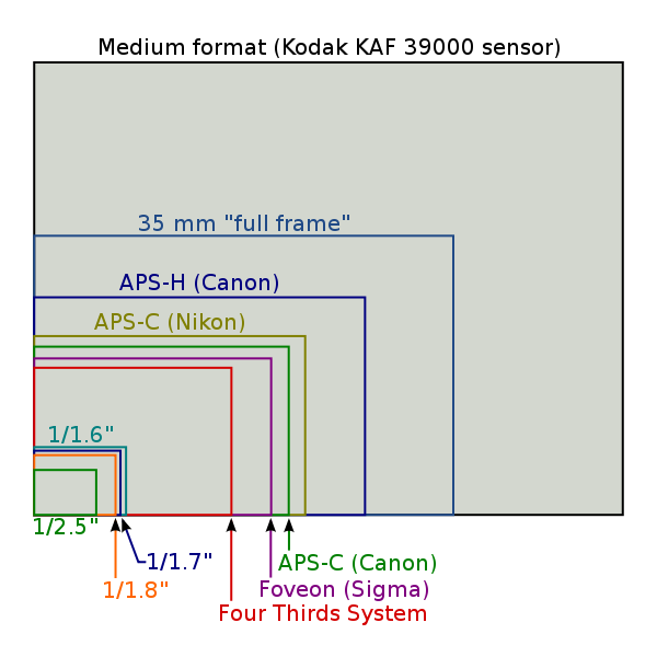 camera sensor sizes